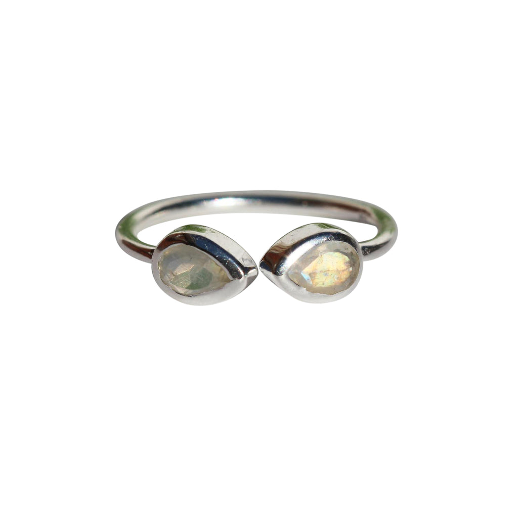 Aphrodite Ring - Silver & Rainbow Moonstone Pear Cut Stones