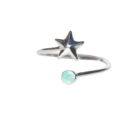 Azure Adjustable Ring - Silver Starfish with Aqua Chalcedony Round Cut Stone