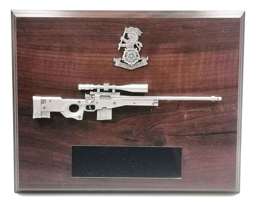 L115A3 SNIPER RIFLE and CAP BADGE Large Wooden Military Plaque