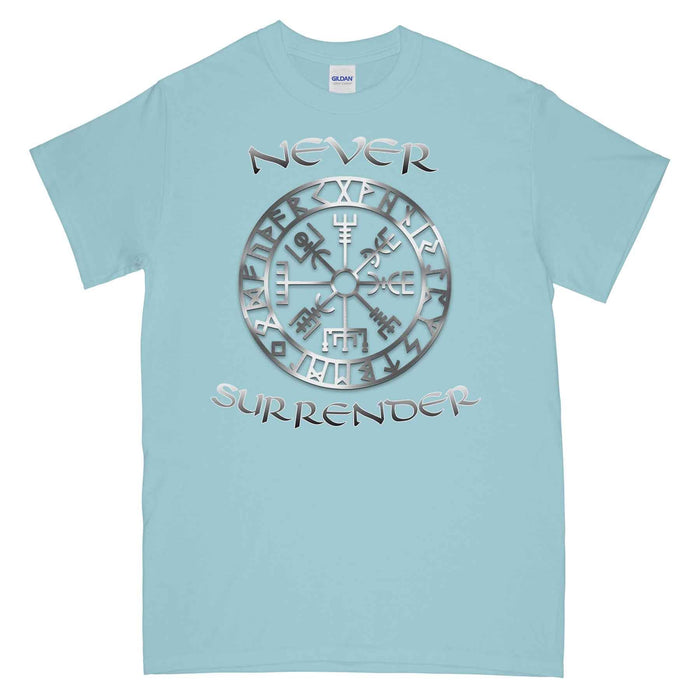 NEVER SURRENDER VIKING COMPASS Printed T-Shirt