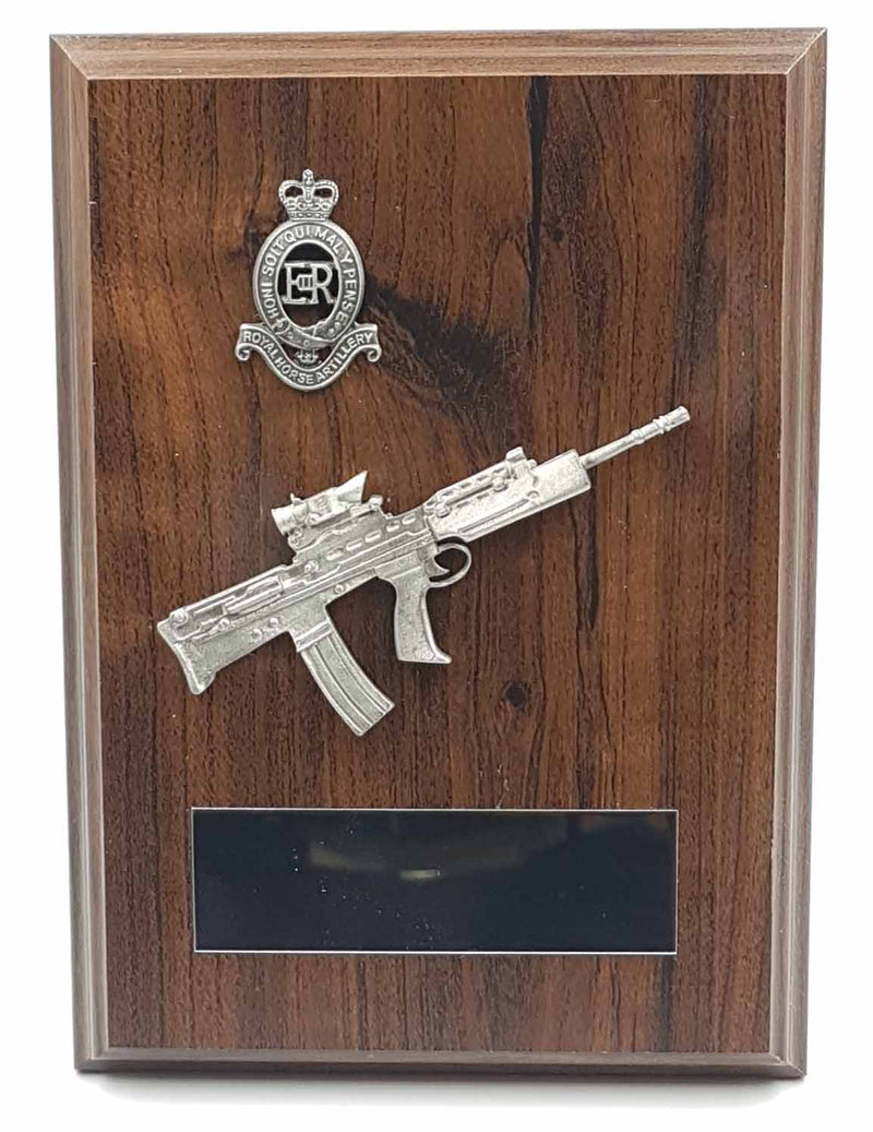 SA80 RIFLE and CAP BADGE Walnut Military Plaque