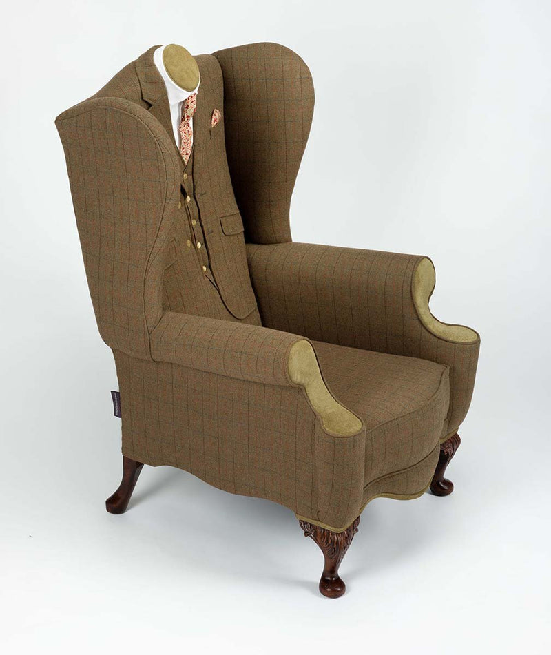 GENTLEMAN'S SHOOTING TWEED WING CHAIR