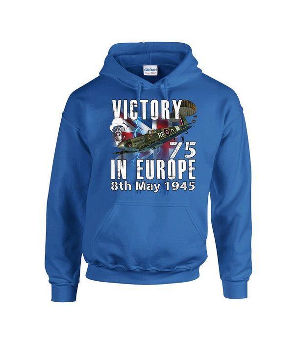VICTORY IN EUROPE 75 Commemorative Front Printed Hoodie