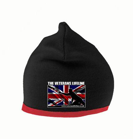 COLDSTREAM GUARDS CAP BADGE PRINTED ON A BLACK BEANIE HAT//CAP