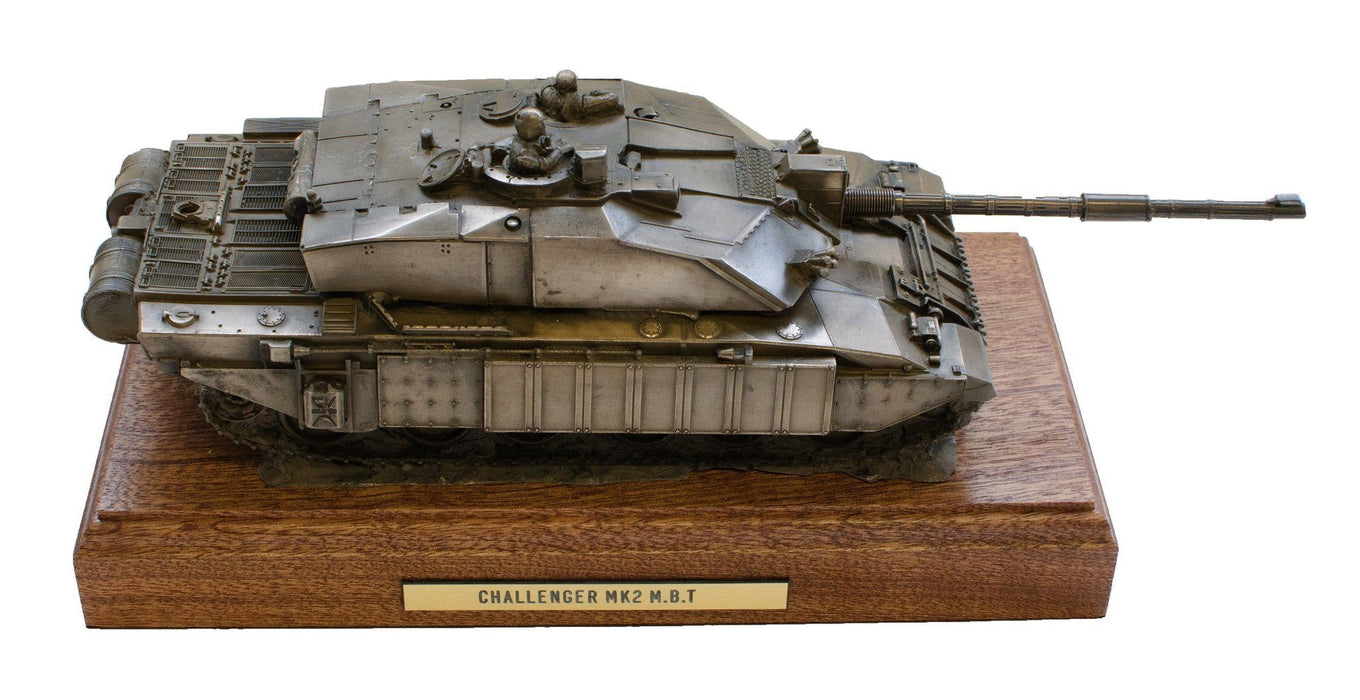 Military Statue - Challenger 2 Main Battle Tank Mahogany Mounted Cold Cast Bronze Statue