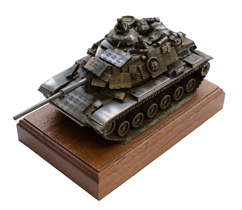 Military Statue - M60A1 Patton Tank Cold Cast Bronze Military Statue