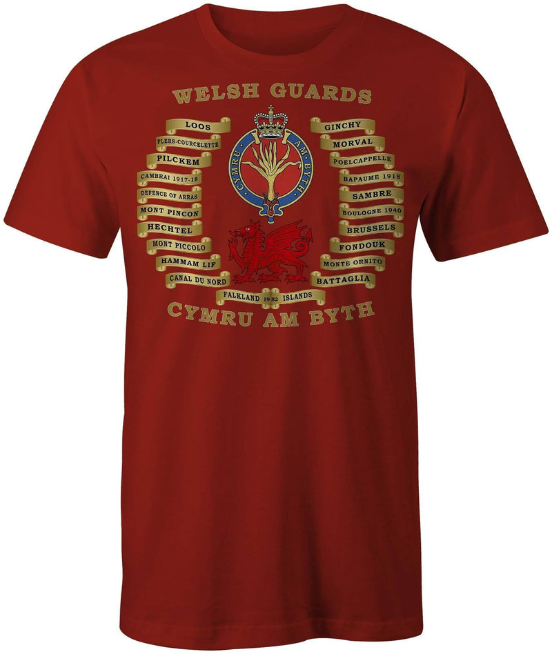 T-Shirt - WELSH GUARDS BATTLE HONOURS PRINTED T-SHIRT