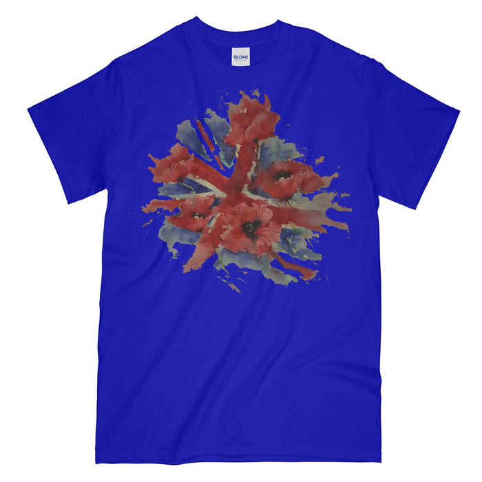 POPPIES ON UNION FLAG Watercolour Printed T-Shirt