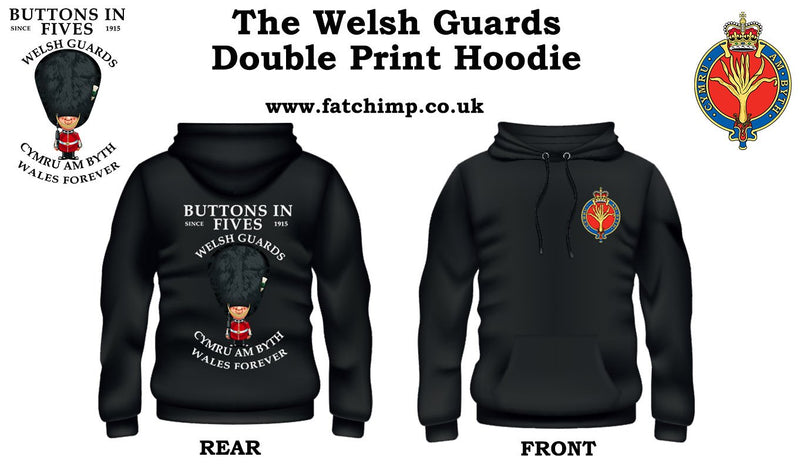 WELSH GUARDS Buttons In Five's Double Side Printed Hoodie