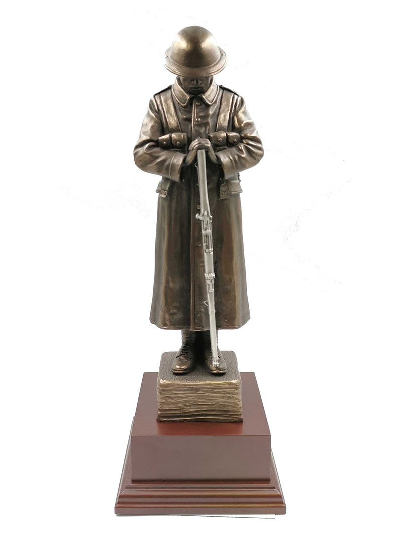 The Lone WW1 TOMMY Cold Cast Bronze Sculpture With Pewter Rifle