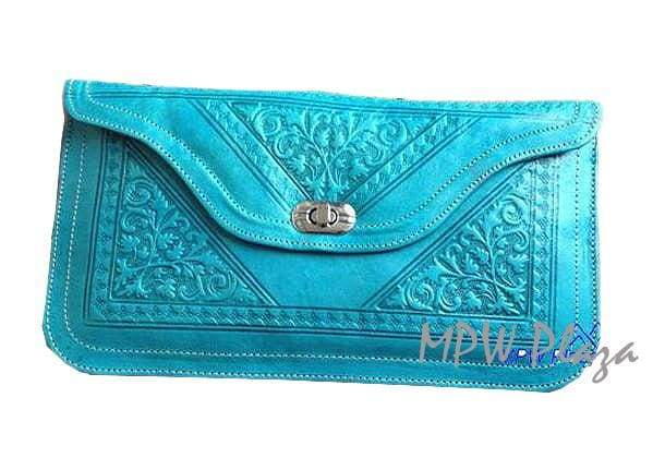 Moroccan Leather clutch bag - Turquoise - MPW Plaza