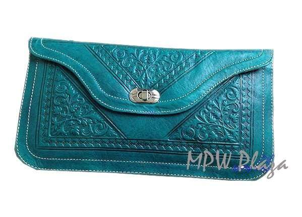 Moroccan Leather clutch bag - Emerald Green - MPW Plaza