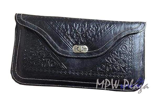 Moroccan Leather clutch bag - Black - MPW Plaza