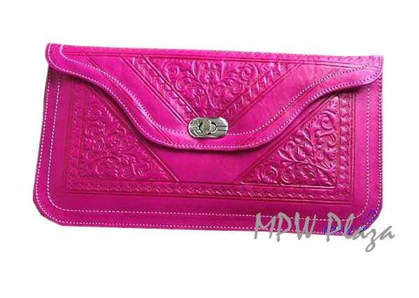 Moroccan Leather clutch bag - Fuchsia - MPW Plaza