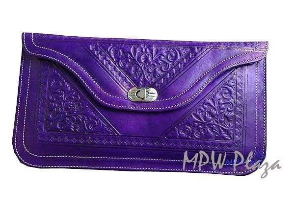 Moroccan Leather clutch bag - Purple - MPW Plaza