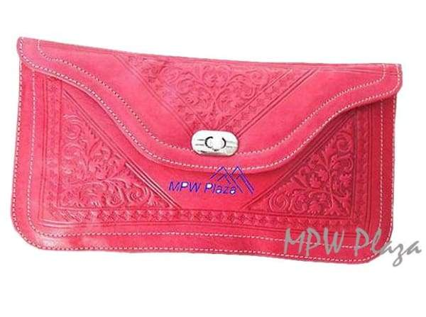 Moroccan Leather clutch bag - Red - MPW Plaza
