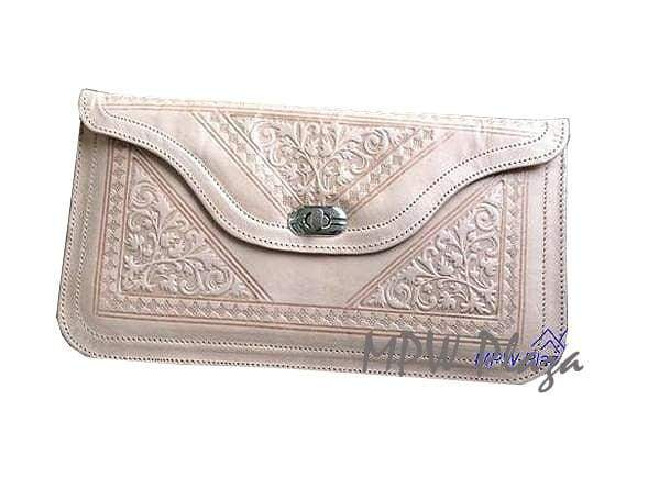 Moroccan Leather clutch bag - Tan - MPW Plaza (R)