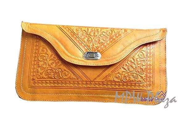Moroccan Leather clutch bag - Yellow - MPW Plaza