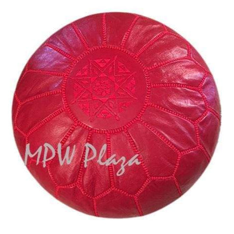 Ruby Red, Pouf Ottoman, Moroccan Pouf, Stuffed - MPW Plaza