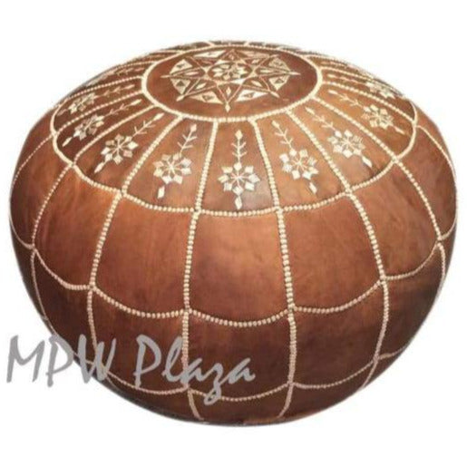 "Full Arch, Pouf Ottoman, Moroccan Pouf, Light Tan 14""x 20"""