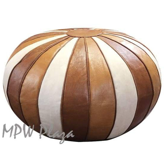 Two Tone Light Tan/Tan, Pouf Ottoman, Moroccan Pouf, Stuffed