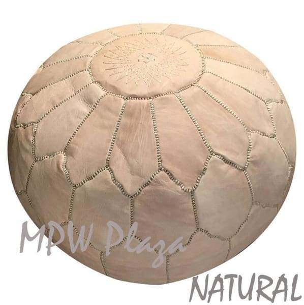 Mini Pouf Brown Moroccan Leather 10x14