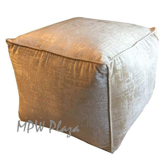 "Light Tan, Rectangle Tabouret Moroccan Pouf Ottoman Square 35""W x 15""H x 18""D"