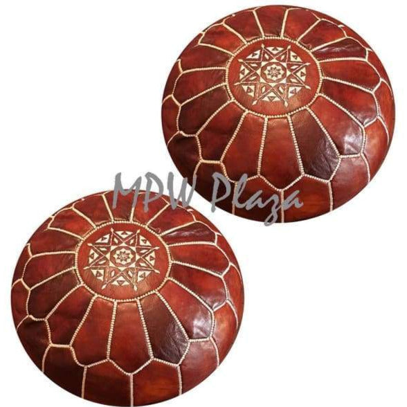 "Set of 2, Pouf Ottoman, Moroccan Pouf, Stuffed 14""x 20"" - MPW Plaza (R)"