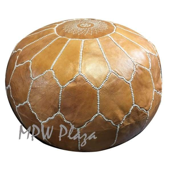 "Two Tone Tan/Light Tan, Pouf Ottoman, Moroccan Pouf, Stuffed 14""x 20"""