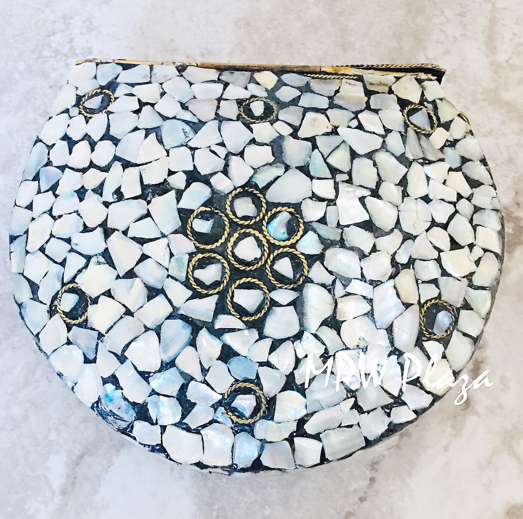 MPW Plaza clutch bag, shoulder bag, handbag Mosaic Black Onyx Gemstone