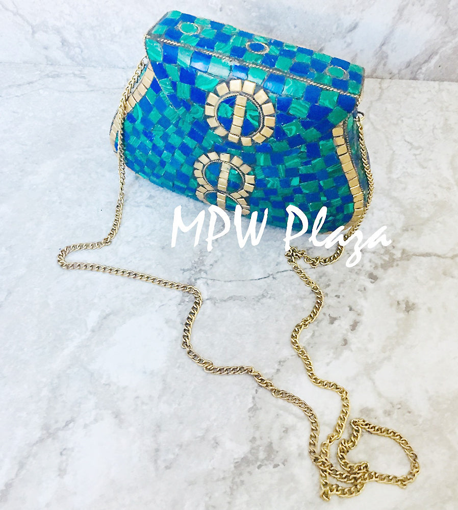 MPW Plaza clutch bag, shoulder bag, handbag Mosaic Green Blue Gold