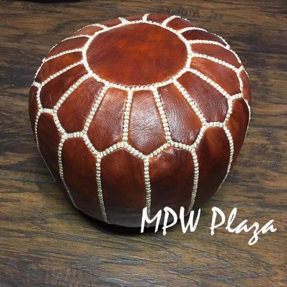 Mini Pouf Brown Moroccan Leather 10x14 - MPW Plaza