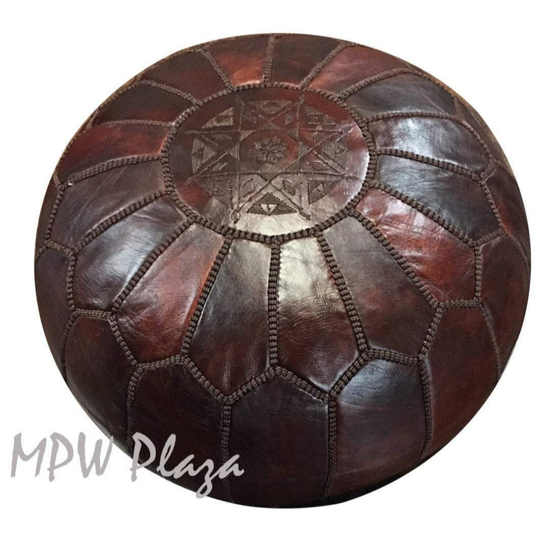 Dark Brown on Brown, Stuffed, Moroccan Pouf Ottoman, 14x20 - MPW Plaza