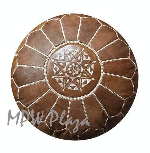 Brown, Stuffed, Moroccan Pouf Ottoman, 14x20 - MPW Plaza