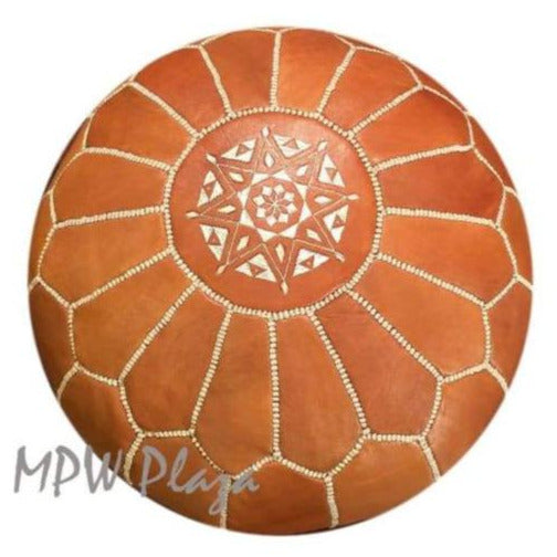Light Tan, Moroccan Pouf Ottoman 14x20 - MPW Plaza