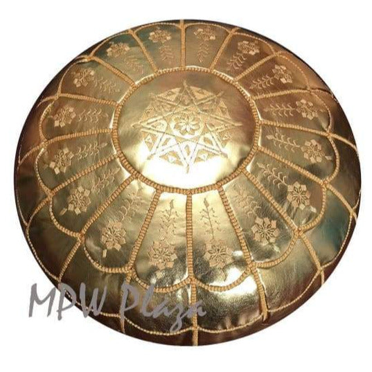 Velvet Square Pouf Bronze w embroidery