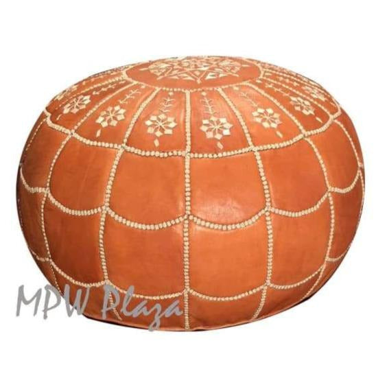 Metallic Bronze, Light Embroidery, Pouf Ottoman, Moroccan Pouf