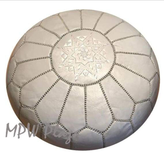 Light Grey, Moroccan Pouf Ottoman 14x20 - MPW Plaza