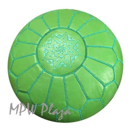 Lemon Green, Moroccan Pouf Ottoman, Stuffed 14x20 - MPW Plaza