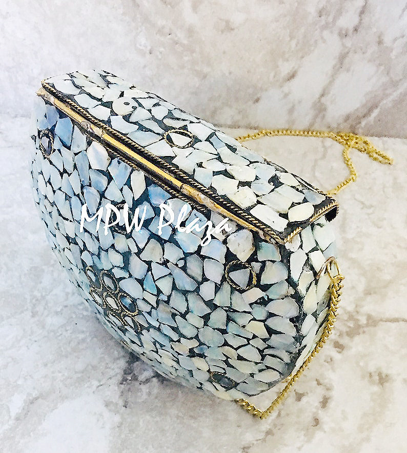 MPW Plaza clutch bag, shoulder bag, handbag Mosaic Gray Gemstone