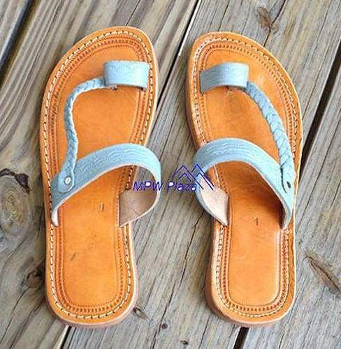 Sandal Moroccan Leather, Grey -NEW - MPW Plaza