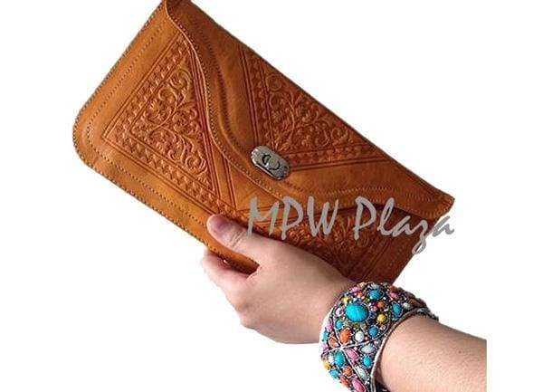 Moroccan Leather clutch bag - Orange - MPW Plaza
