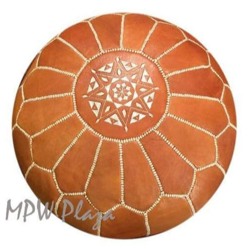 "Light Tan, Pouf Ottoman, Moroccan Pouf, Stuffed 14"" x 20"" - MPW Plaza (R)"