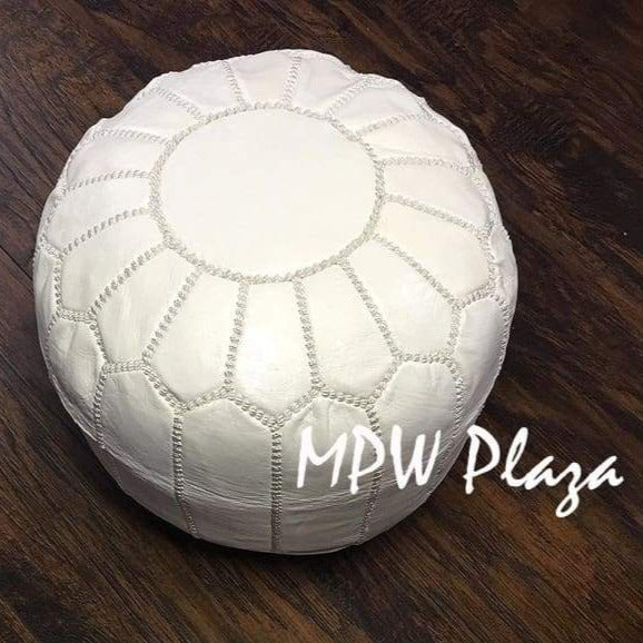 Mini Pouf White Moroccan Leather 10x14 - MPW Plaza
