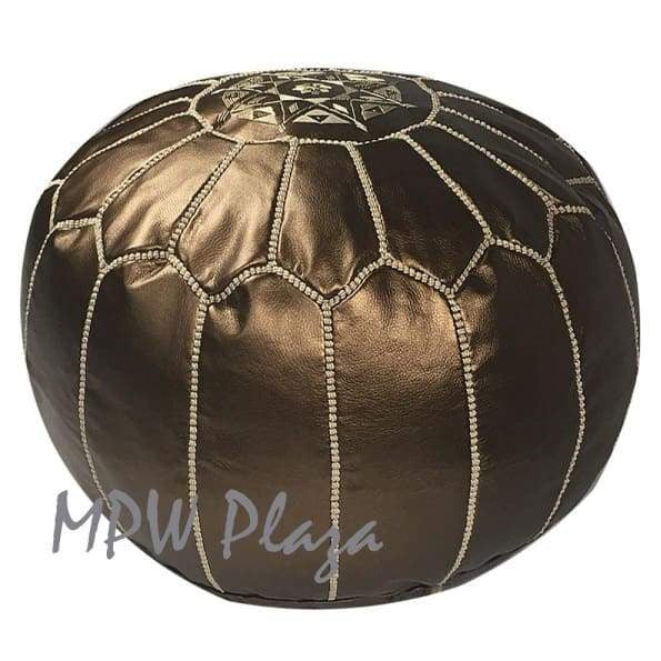 Metallic Bronze, Light Embroidery, Pouf Ottoman, Moroccan Pouf - MPW Plaza