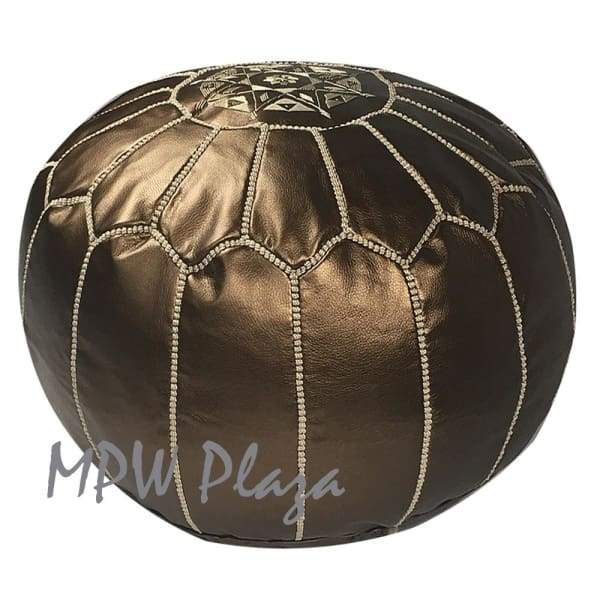 Dark Brown on Brown, Stuffed, Moroccan Pouf Ottoman, 14x20
