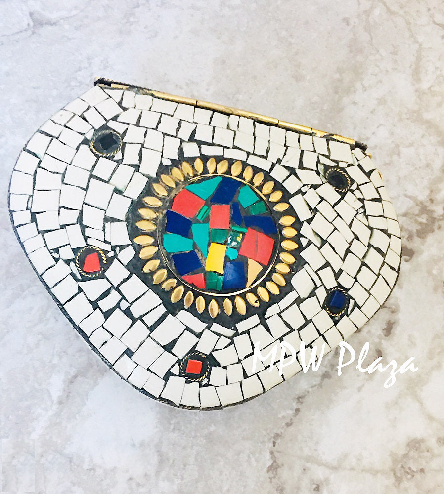 MPW Plaza clutch bag, shoulder bag, handbag Mosaic tile and Pink Gemstone