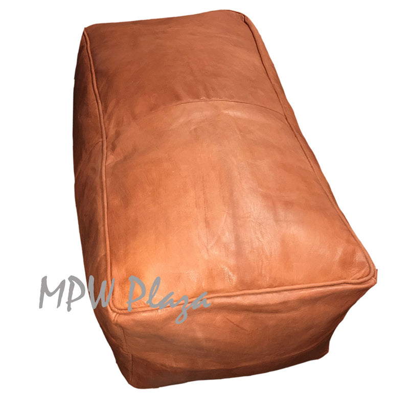 "Light Tan, Rectangle Tabouret Moroccan Pouf Ottoman Square 35""W x 15""H x 18""D - MPW Plaza"