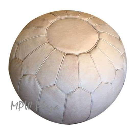 "Retro, Pouf Ottoman, Moroccan Pouf, Natural Tan, Stuffed 14""x 20"" - MPW Plaza (R)"