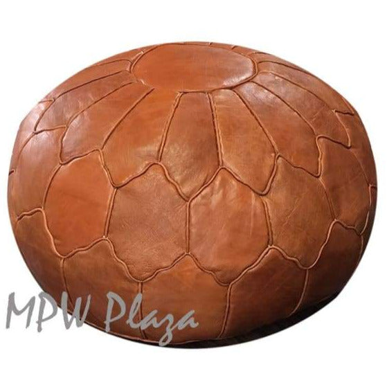 MPW Plaza Pouf Ottoman, Retro Shell, Brown, 19x29 - MPW Plaza